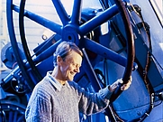 Author photo. Tom Gehrels at the Spacewatch Telescope [credit: Lori Stiles, University of Arizona]