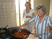 Author photo. Giovanna Tornabene cooking at Gangivecchio, Sicily.