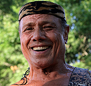 "Author photo. Paparazzo Presents...World Wrestling Federation (WWF) / World Wrestling Entertainment (WWE) Hall of Fame pro wrestler Jimmy ""Superfly"" Snuka before the start of a wrestling match against Gregory Edwards at the Top Rope Promotions event held in North Attleboro, Massachusetts on July 31, 2011."