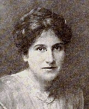 Author photo. American writer Clara Elizabeth Laughlin (1873 – 1941), from an ad for Wholesome Pictures on page 2 of the September 1, 1917 Exhibitors Herald.