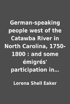 German-speaking people west of the Catawba…