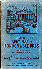 BACON'S RUBY MAP OF LONDON & SUBURBS