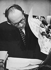 Author photo. Eichmann on trial in Jerusalem, 1961. (ushmm.org)