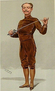 """Author photo. """"He insists that his pen is mightier than his sword"""" Castle as caricatured by Spy (Leslie Ward) in Vanity Fair, March 1905"""