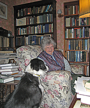 Author photo. Ann and her dog Liffey at home in Bridge, Kent, May 2011.