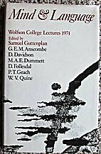 Mind and Language: Wolfson College Lectures…