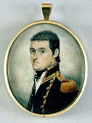 Author photo. Watercolour miniature portrait of British navigator Matthew Flinders, dated about 1800. Source: State Library of NSW.