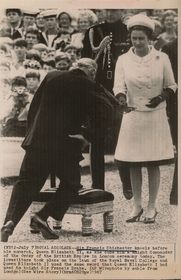 Author photo. Francis Chichester being knighted by Queen Elizabeth 7 July 1967