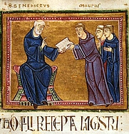 Author photo. St. Benedict delivering his Rule to St. Maurus and other monks of his order (France, Monastery of St. Gilles, Nimes, 1129)