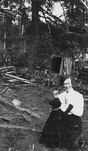 Author photo. Nellie Neal Lawing and her little bear, 1918. Crow Creek mining camp, up from Girdwood.