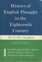 History of English Thought in the Eighteenth…
