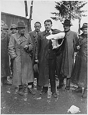Author photo. Dornberger with Lt Col. Herbert Axter, Prof. Werner von Braun, and Hans Lindenberg, upon surrendering to the U.S. (1945)