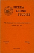 Sierra Leone Studies (New Series) - [Vol.…