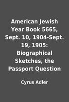 American Jewish Year Book 5665, Sept. 10,…