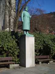 Author photo. Statue of Snorri Sturluson by sculptor Gustav Vigeland, in Bergen, Norway. An identical statue was erected at Reykholt, Iceland.