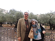 Author photo. Author Paula Rae Wallace with her husband, Pastor Richard L. Wallace at one of his favorite sites, the Garden of Gethsemane!