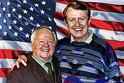 "Author photo. Warren Chaney directing Mickey Rooney on set of film, ""America: A Call to Greatness"""