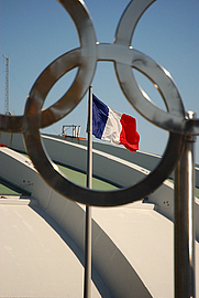 Author photo. French Flag in the Montreal Olympic Stadium.  Photo by user michelarc / Flickr.