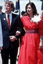 Author photo. Marilyn Quayle with husband Sen. Dan Quayle attending launching of USS Vincenes, April. 14, 1984 (DoD photo by PH2 Jeffrey Salter, DN-ST-85-05609)