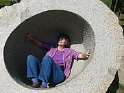 Author photo. Jackie Craven gets into the sculpture display at Storm King