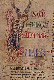 Author photo. The Gospel of Matthew by the Master of the Harding Bible, c. 1100.