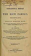 A Genealogical History of the Rice Family:…