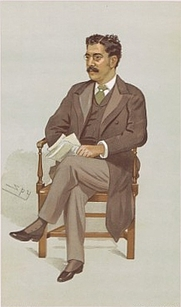 Author photo. Caricature of Clement King Shorter, by Spy (Leslie Ward). Wikimedia Commons.