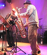 Author photo. Hamiet Bluiett, on right. Andy Newcombe, 2007