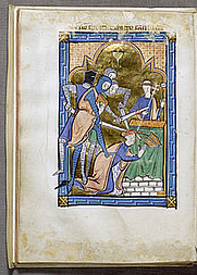 Author photo. Saint Thomas à Becket / Miniature from an English psalter presenting a spirited account of the murder, c. 1250, Walters Art Museum, Baltimore.
