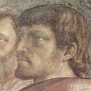 Author photo. Detail from the Fresco Cycle of the Brancacci Chaple, Santa Maria del Carmine, Florence, 1424-5.
