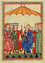"""Author photo. Meister Gottfried von Straßburg. From <a href=""""http://de.wikipedia.org/wiki/Bild:Codex_Manesse_Gottfried_von_Stra%C3%9Fburg.jpg"""">Wikimedia Commons</a>"""