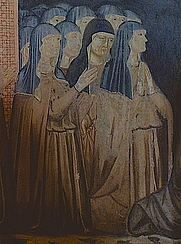 Author photo. Sisters of the Order of St. Clare, Detail from Fresco, San Damiano, Assisi. Photo by Gunnar Bach Pedersen / Wikimedia Commons.