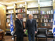 """Author photo. Meir Doron and President of Israel, Shimon Perez,after interview him for the book """"Confidential"""""""