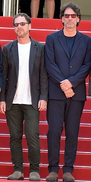 Author photo. Joel (on the right) and Ethan Coen at the Cannes film festival, photograph by Georges Biard