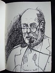 Author photo. Drawing of James C. Scott by Karen Eliot.