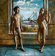 """Author photo. Mary Harju's painting """"The Fall"""" of author Adam Fieled and Mary Harju was first shown at PAFA in 2008."""
