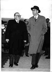 Author photo. Austrian Vice Chancellor Bruno Pittermann (left) walking with Swedish Prime Minister Tage Erlander (right) / Photo © <a href=&quot;http://www.bildarchivaustria.at&quot;>ÖNB/Wien</a>
