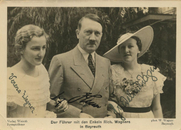 Author photo. Wikipedia, Friedelind Wagner (right) with Adolf Hitler and her Sister Verena Wagner