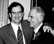 """Author photo. Garry Trudeau in 1995, with his father Francis B. Trudeau, Jr. (founder of the <a href=""""http://www.trudeauinstitute.org/"""">Trudeau Institute</a>, an independent, not-for-profit biomedical research center) (courtesy of Garry Trudeau and the Institute)"""