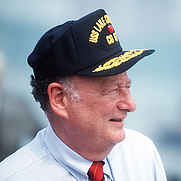 Author photo. Koch at the commissioning of USS Lake Champlain in NYC, 1988