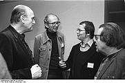 Author photo. Alfred Wellm (center left).  Photo by Gabriele Senft. (Deutsches Bundesarchiv Bild 183-Z1229-303)