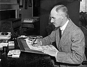 Author photo. Henry Mayo Bateman, working at his home in Reigate, Surrey, UK, 2 December 1931