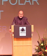 Author photo. Gilbert Achcar speaking at the Institute of Education. Image by Osmanji.