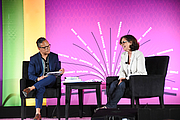 """Author photo. R.J. Palacio speaks with Roswell Encina on the Children's Purple Stage at the National Book Festival, August 31, 2019. Photo by David Rice/Library of Congress. By Library of Congress Life - 20190831DR0693.jpg, CC0, <a href=""""https://commons.wikimedia.org/w/index.php?curid=82899305"""" rel=""""nofollow"""" target=""""_top"""">https://commons.wikimedia.org/w/index.php?curid=82899305</a>"""