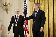 Author photo. Ralph Baer receiving the National Medal of Technology, 2006.  White House photo by Eric Draper.