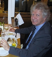 Author photo. Jan Van Alphen at Strandhaus fish restaurant in Vienna November 2012 (Photographer John Marshall)
