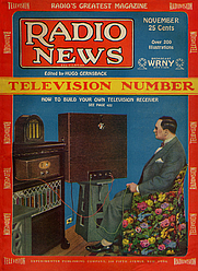 Author photo. Radio News Nov 1928 Cover.jpg  Hugo Gernsback in his Manhattan apartment is watching a television broadcast from his WRNY station in August 1928.