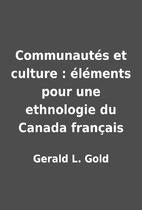Communautés et culture : éléments pour…