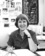 Author photo. Elizabeth Warnock Fernea in her office at the Center for Middle Eastern Studies, University of Texas at Austin, late 1980s