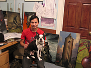 Author photo. Esao Andrews and his dog, Soybean in their studio with paintings for the January 2008 exhibition.